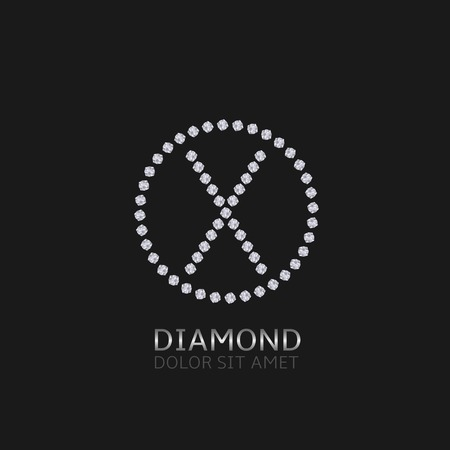 expensive: X Letter with diamonds. Expensive, presious symbol.