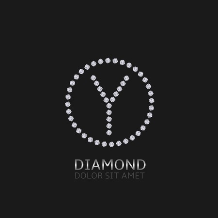 expensive: Y Letter with diamonds. Expensive, presious symbol.