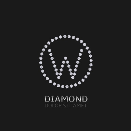 expensive: W Letter with diamonds. Expensive, presious symbol.