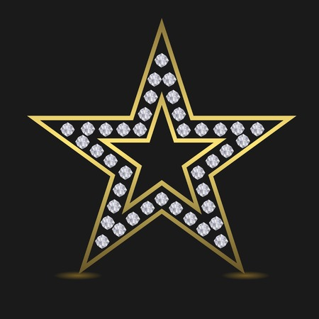 star award: Golden luxury star. Success award quality concept. Golden star with diamonds