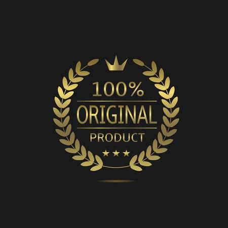 100% origineel product. Gouden etiket met lauwerkrans en kroon. Beste kwaliteitsbord Stock Illustratie