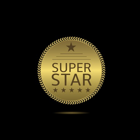 super star: Super star label. Golden badge with laurel wreath and stars. Super star sign