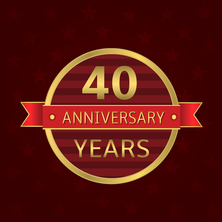 40 years: 40 years anniversary label. Anniversary Golden badge with red ribbon