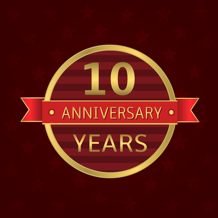10 years anniversary: 10 years anniversary label. Anniversary Golden badge with red ribbon