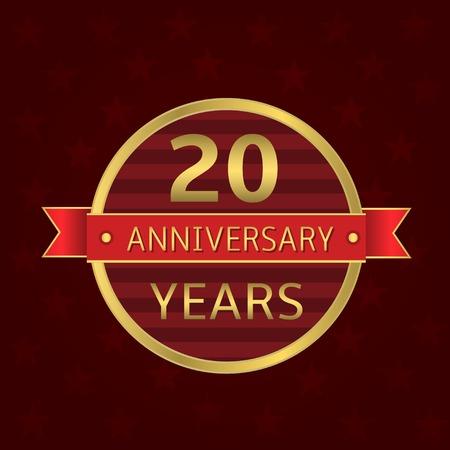 20 years anniversary label. Anniversary Golden badge with red ribbon Ilustração Vetorial