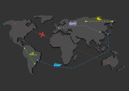 inforgaphic: Delivery concept map. Shipping scheme, Travel map, Transportation icons Illustration