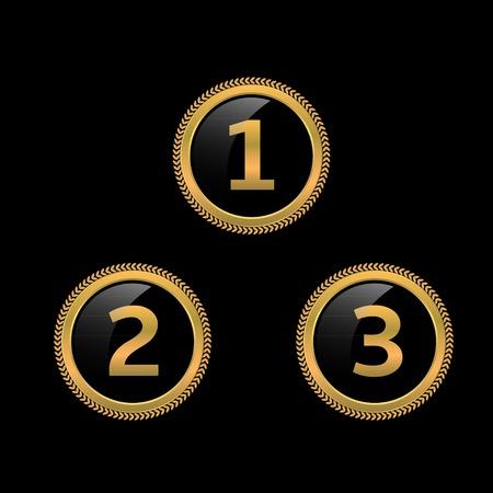 primer lugar: etiquetas de oro de la concesión. Primer lugar. Segundo lugar. Tercer lugar. signos de podio Vectores