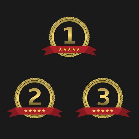 first place: etiquetas de oro de la concesión del ingenio de cintas rojas. Primer lugar. Segundo lugar. Tercer lugar. signos de podio