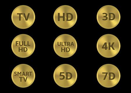 full hd: Golden tv format labels. TV HD 3D 4K 5D 7D Full HD Smart TV Ultra HD