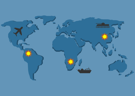 howitzer: World map. War. Bomber tank warship icons