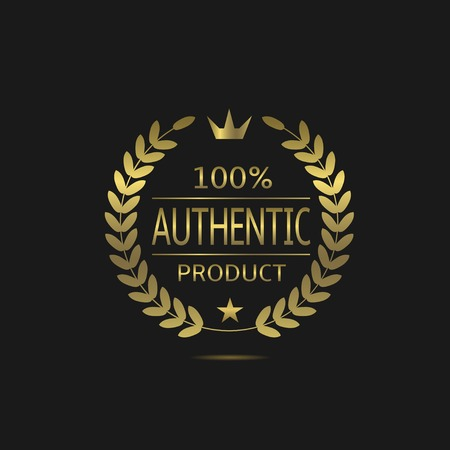 100% authentic product. Warranty sign. Guarantee symbol. Golden Authentic product badge