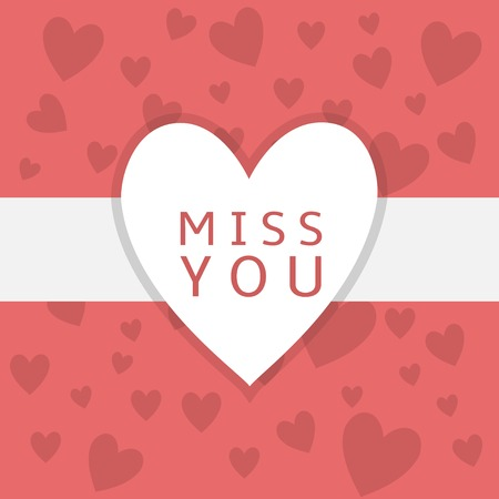 i miss you: I miss you. White heart. Red hearts background. Valentine day. Wedding decoration Illustration
