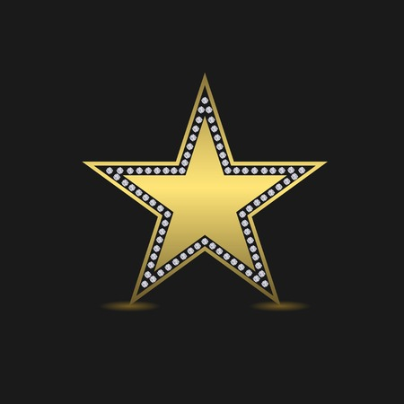 star award: Golden luxury star. Success award quality concept. Star logo. Golden star with diamonds Illustration