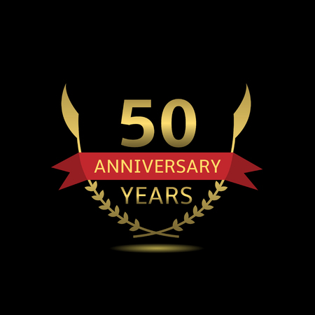 50: 50 Anniversary years. Golden laurel wreath with red ribbon Illustration