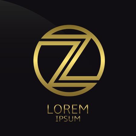 Lettre Z. Modèle rond d'or