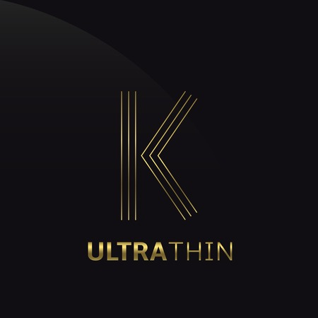 Ultrathin K Letter template. Golden A letter symbol