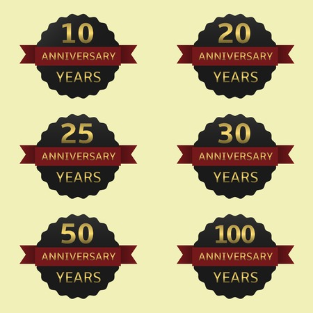 age 25 30 years: Anniversary years label set. Black labels with red ribbons