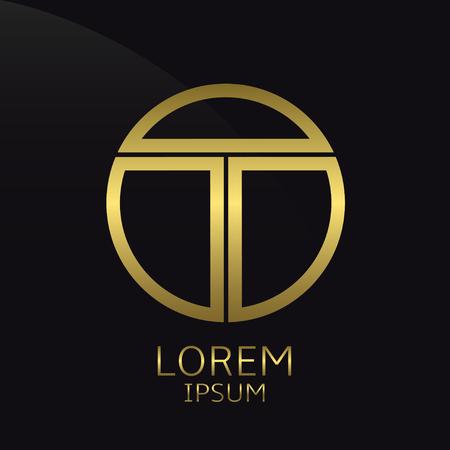 Lettre T. modèle rond d'or, l'étiquette de forme Fenêtre