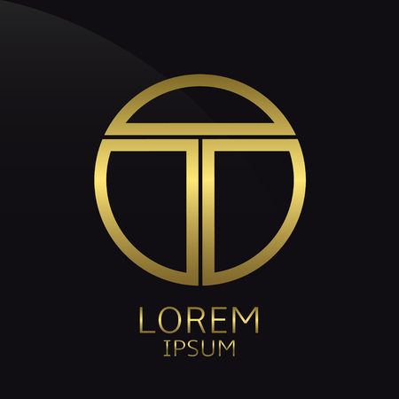 Letter T. Golden round template, Window shape label