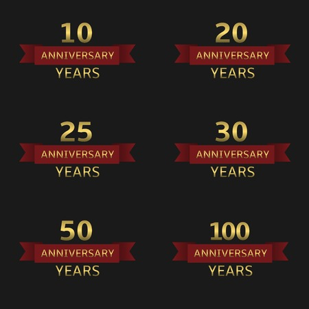 age 25 30 years: Anniversary years label set. Golden labels with red ribbons Illustration