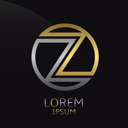 Letter Z. Golden round template