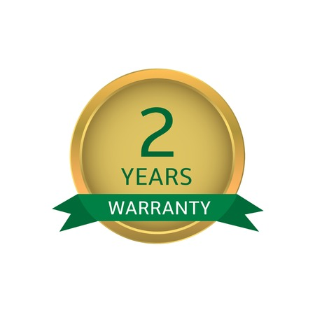 green ribbon: Two years warranty label. Golden badge with green ribbon