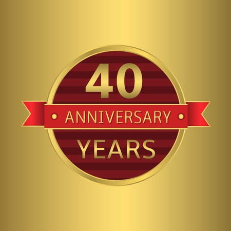 40 years: 40 years anniversary. Golden badge with red ribbon