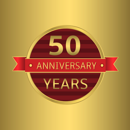 50 years: 50 years anniversary. Golden badge with red ribbon