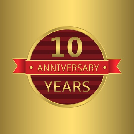 10 years: 10 years anniversary. Golden badge with red ribbon