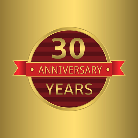 30 years: 30 years anniversary. Golden badge with red ribbon