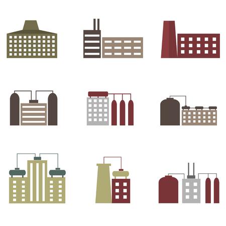 dangerous construction: Factory icon set. Technology plants and buildings Illustration