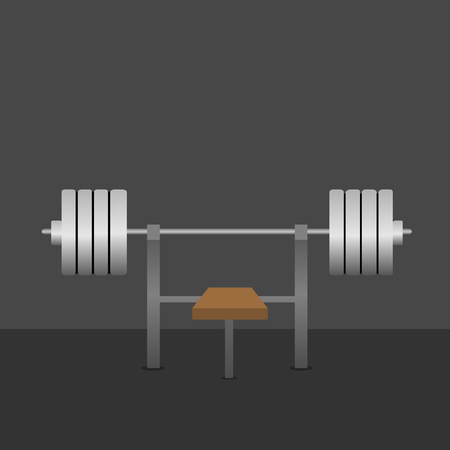 pres: Barbell on bench in the gym. Bar Bench Pres. Silver metal barbell
