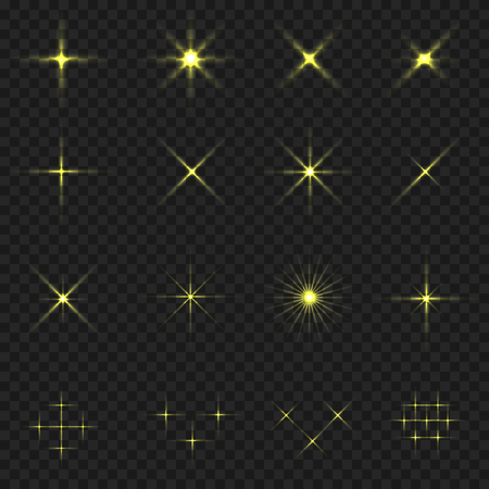 Golden blink icons. Golden stars. Magic sparkles on transparent background
