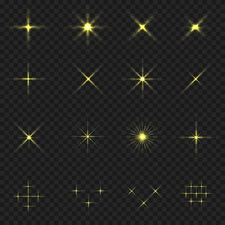 blink: Golden blink icons. Golden stars. Magic sparkles on transparent background