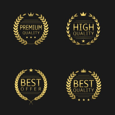 best quality: Golden label set. Premium quality, High quality, Best offer, Best quality