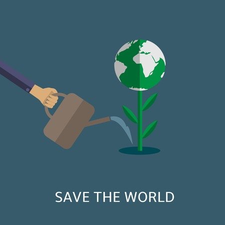 eco slogan: Save the world. Man watering plant with abstract earth. Bio concept. Eco concept Illustration
