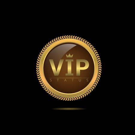 status: Vip status label. Luxury Golden sign, Vector illustration