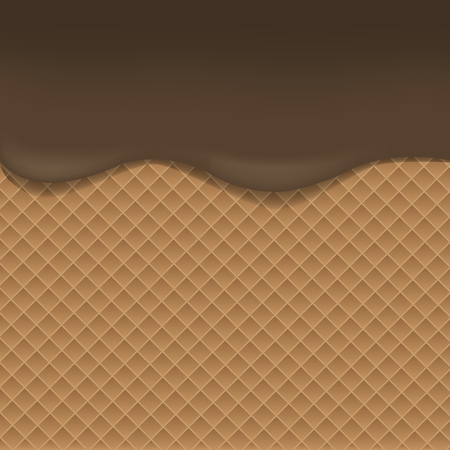 goodies: Wafer background with dark chocolate. Vector illustration Illustration