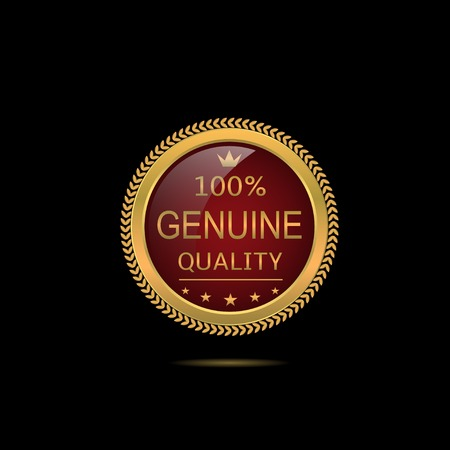 genuine: Genuine quality. Golden Genuine quality label with stars and crown