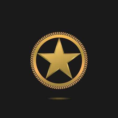 star award: Golden Star symbol. Award label, winner emblem