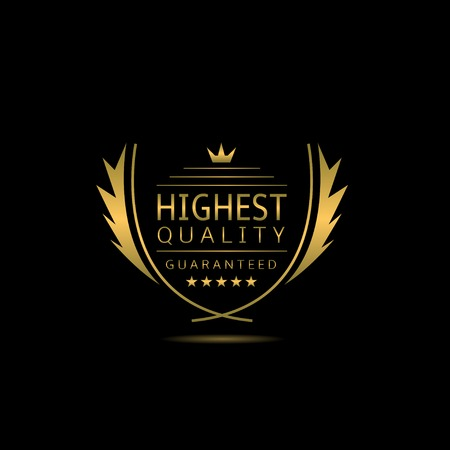 highest: Highest quality. Golden Highest quality label with laurel wreath, stars and crown