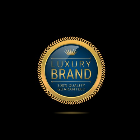 brand label: Luxury brand. Golden Luxury brand label with stars and crown