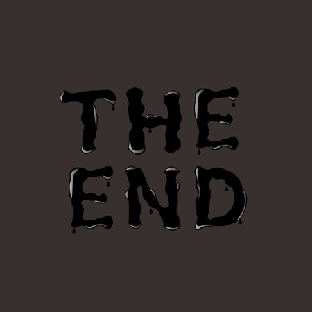 end: THE END. The End text. Black text. Vector illustration