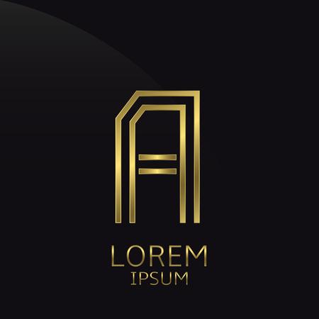 expensive: A Letter logo. Golden logo symbol for business company, luxury elegant expensive emblem Illustration