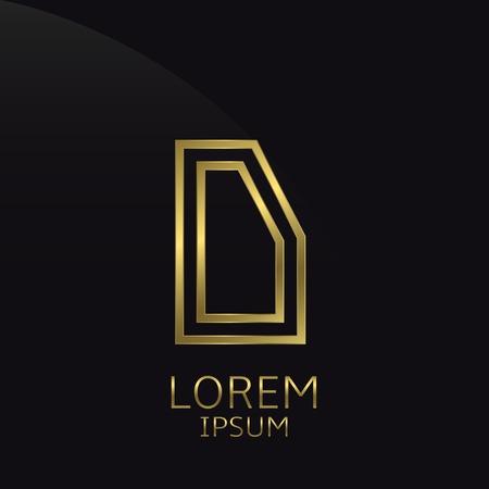 expensive: D Letter logo. Golden logo symbol for business company, luxury elegant expensive emblem