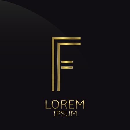 expensive: F Letter logo. Golden logo symbol for business company, luxury elegant expensive emblem