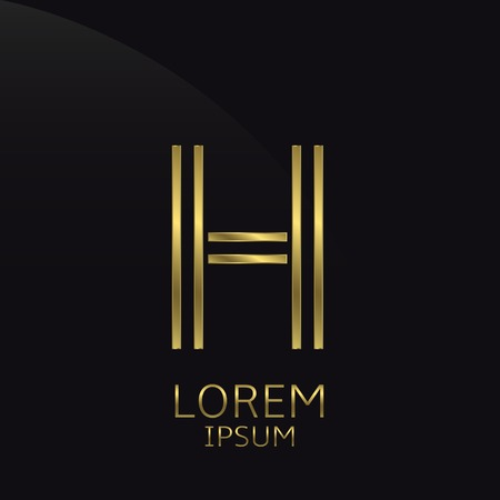 is expensive: H Letter logo. Golden logo symbol for business company, luxury elegant expensive emblem Illustration