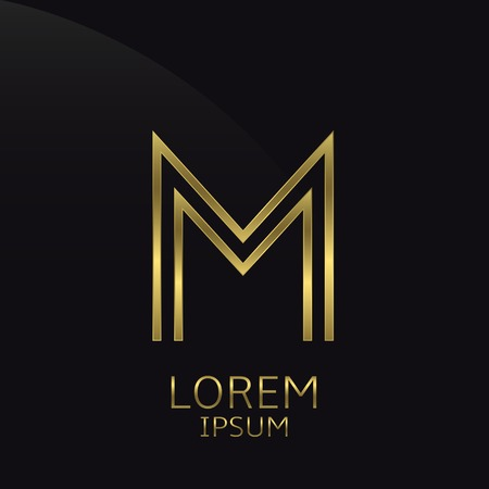 is expensive: M Letter logo. Golden logo symbol for business company, luxury elegant expensive emblem