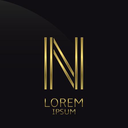 expensive: N Letter logo. Golden logo symbol for business company, luxury elegant expensive emblem