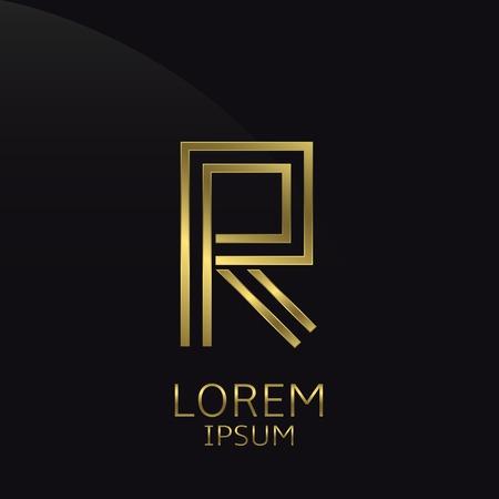 expensive: R Letter logo. Golden logo symbol for business company, luxury elegant expensive emblem Illustration